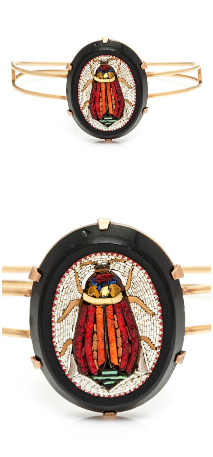 An antique Egyptian Revival bangle bracelet with a beautiful micromosaic scarab. In Leslie Hindman's upcoming September jewelry sale.