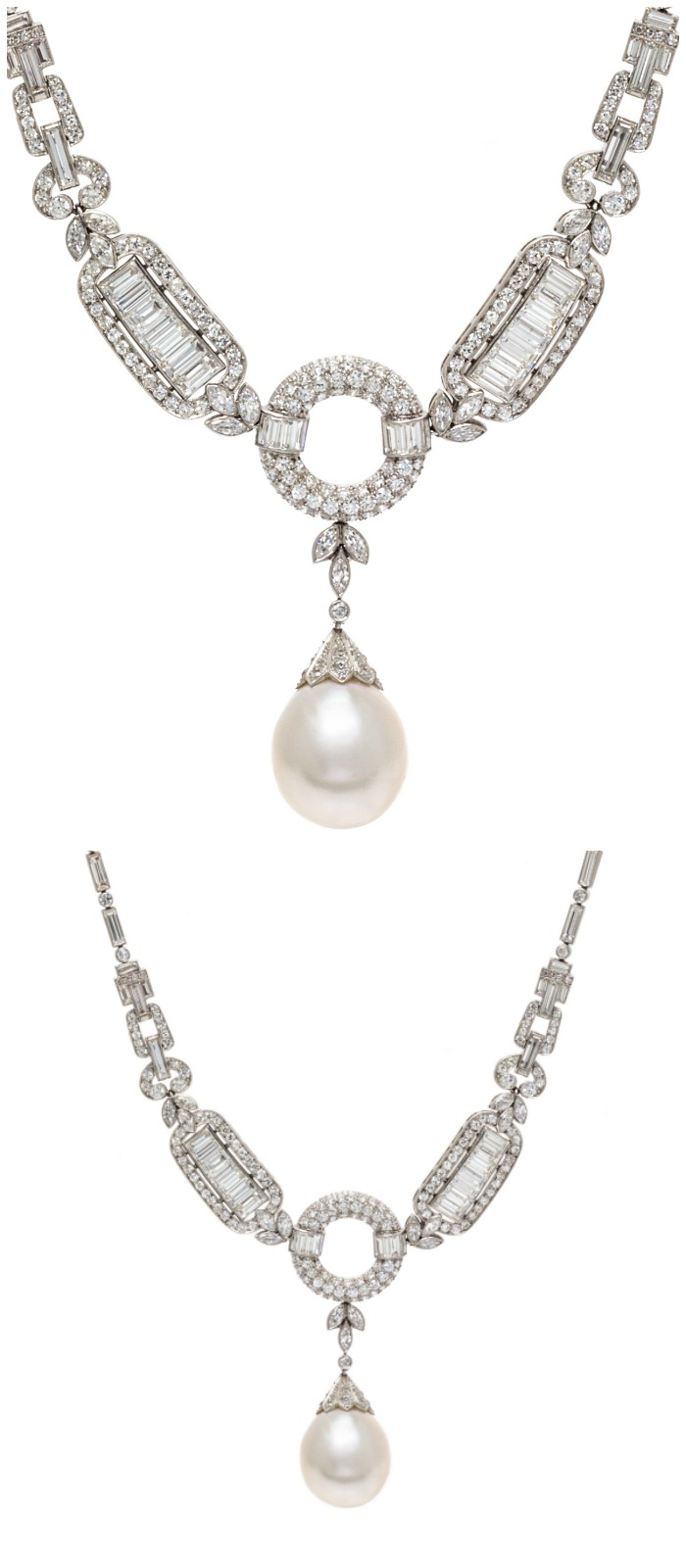 An exceptional Art Deco natural pearl and diamond necklace in platinum, circa 1920.