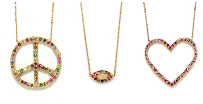 Beautiful necklaces by Elisa Solomon. The peace sign, heart, and opal eye. In gold with gemstones.