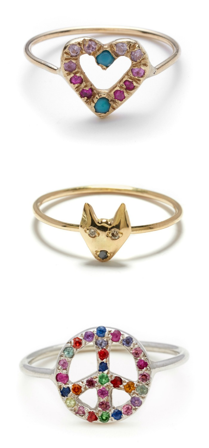 Beautiful rings by Elisa Solomon. Heart, puppy, and peace sign. With diamonds and gemstones.
