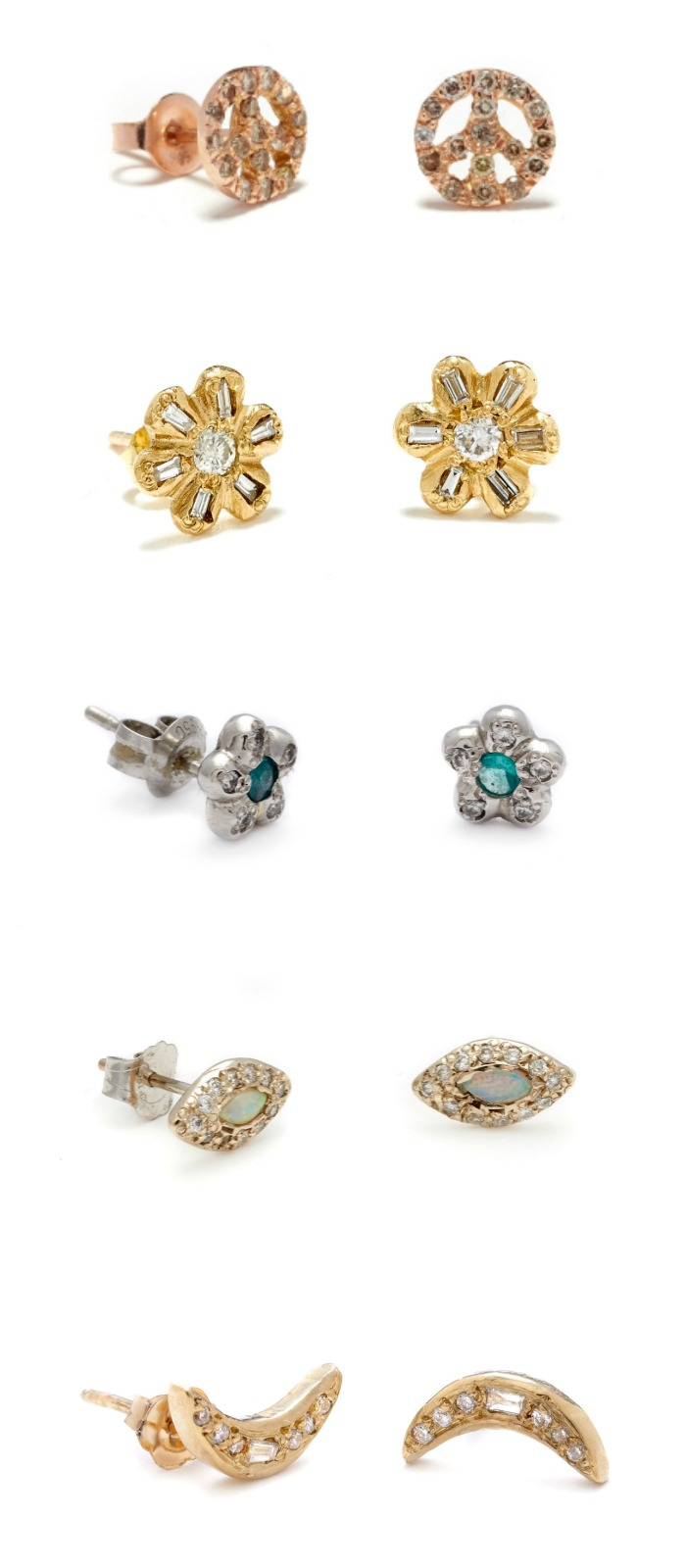 Beautiful stud earrings by Elisa Solomon. With diamonds and gemstones.