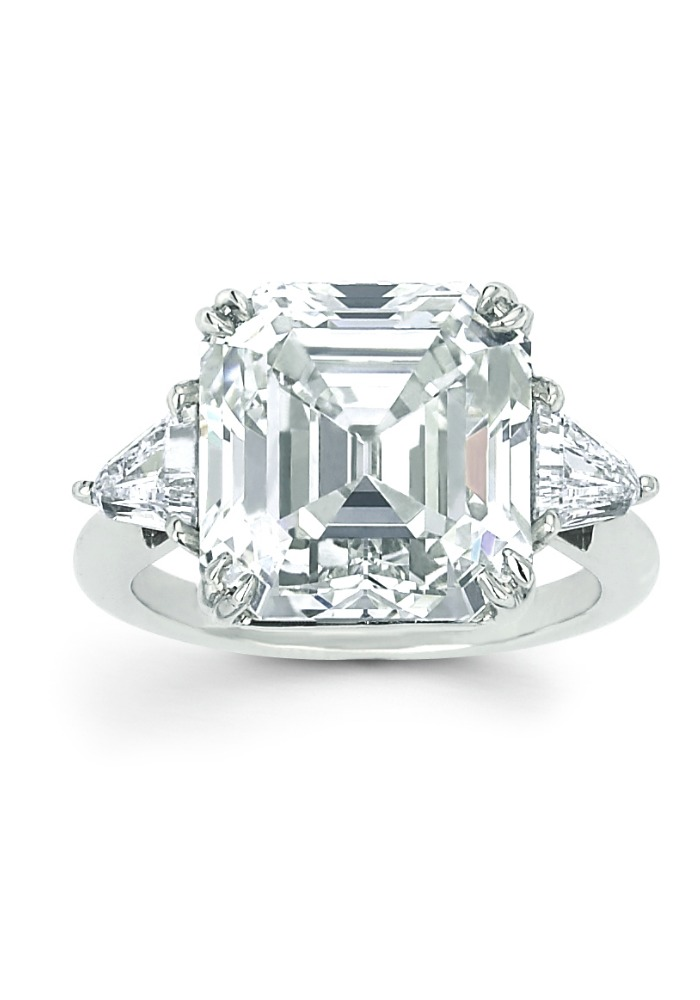 Forevermark Exceptional diamond ring with 10.50 ct Asscher cut diamond.
