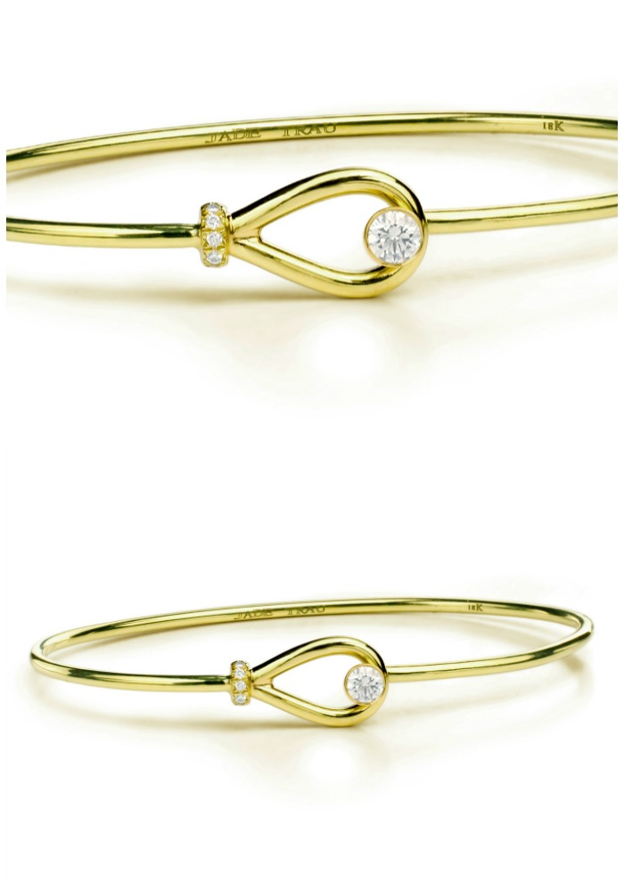 Forevermark by Jade Trau Riata Cuff set in 18k yellow gold with diamonds.