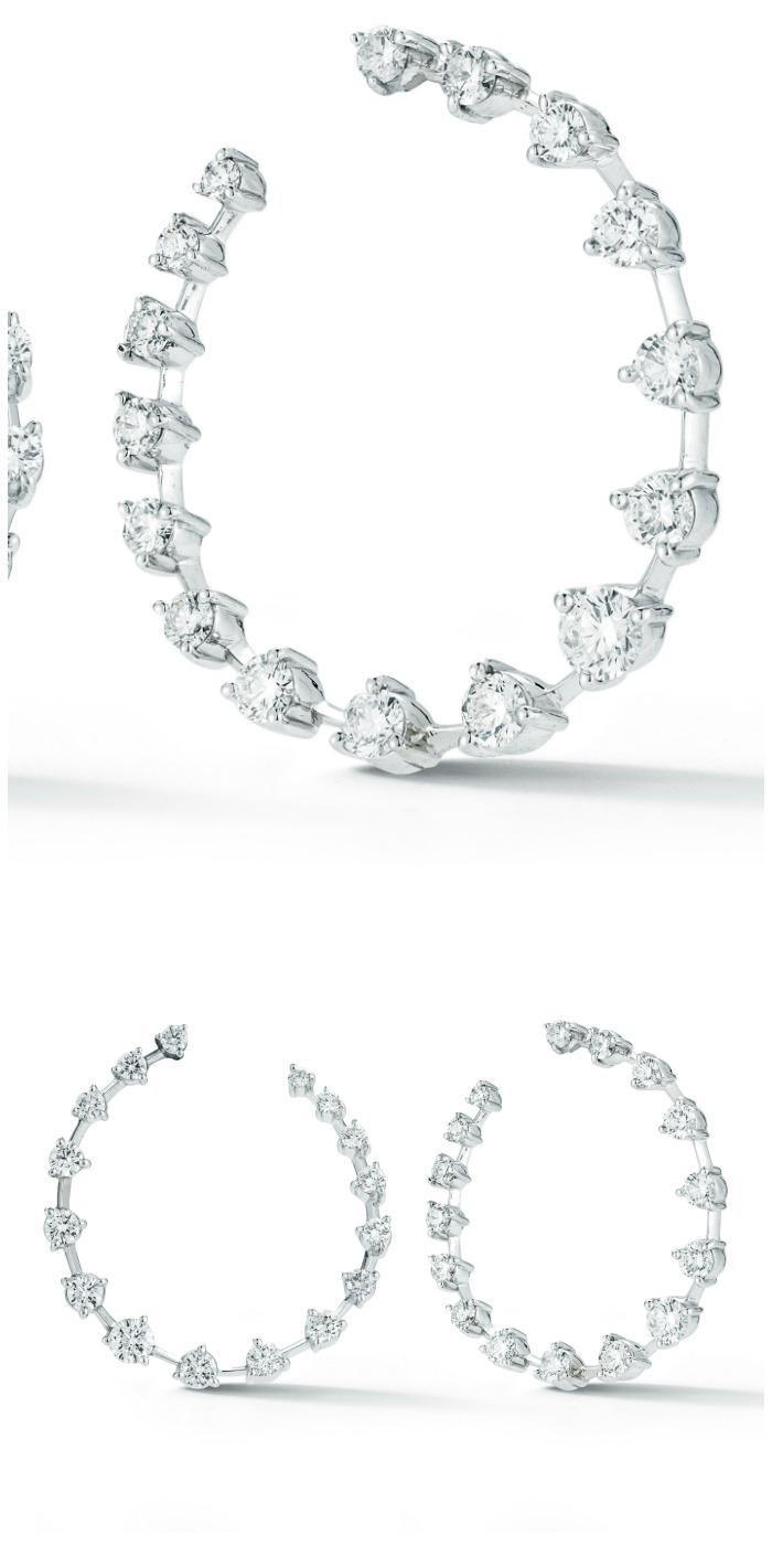 Forevermark by Jade Trau diamond hoops set in 18k white gold