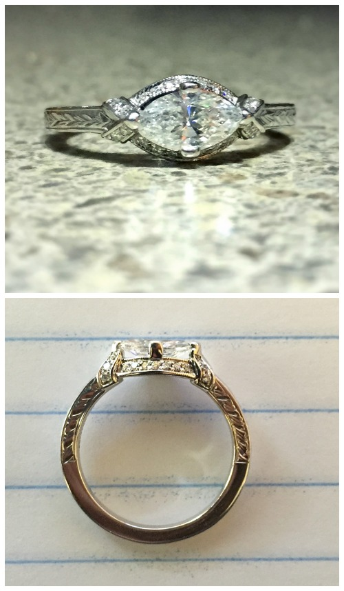 Reader Bella had her very own engagement ring custom designed after she found inspiration in an antique ring featured on Diamonds in the Library.