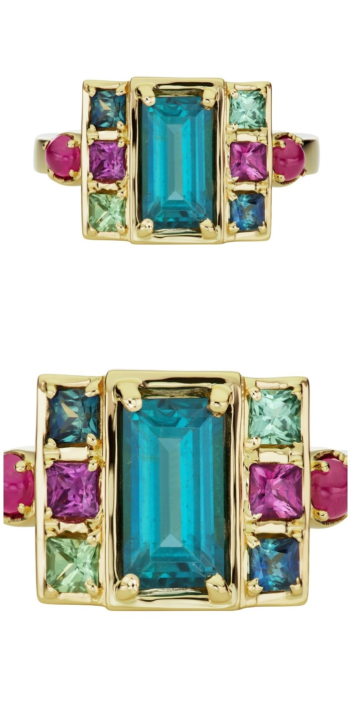 The Jane Taylor jewelry Cirque Petite Cloud Swing ring in 18K yellow gold with 1.57ctw indicolite tourmaline baguette, 1.13ctw green & purple sapphire, and .35ctw ruby cabochons.