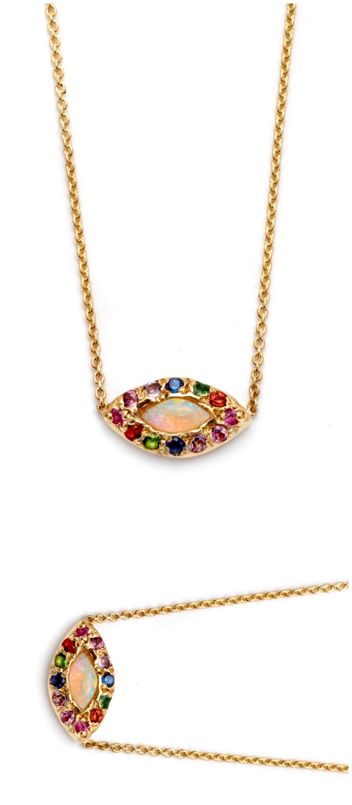 The beautiful opal eye necklace by Elisa Solomon. Featuring a lovely little opal surrounded with rainbow gemstones.