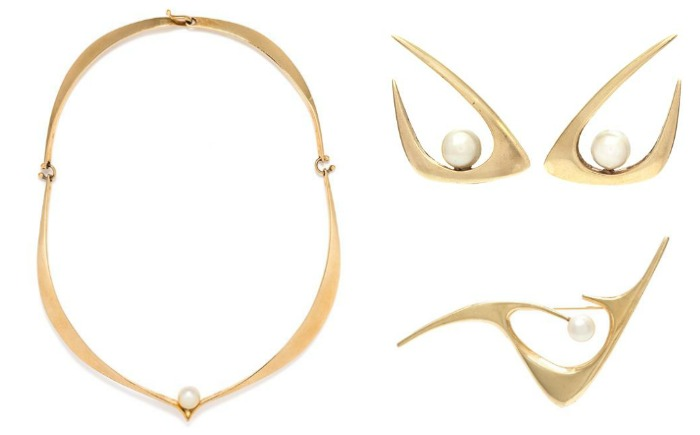 Three modernist yellow gold and cultured pearl pieces by Ed Weiner. From Leslie Heindman's September auction.