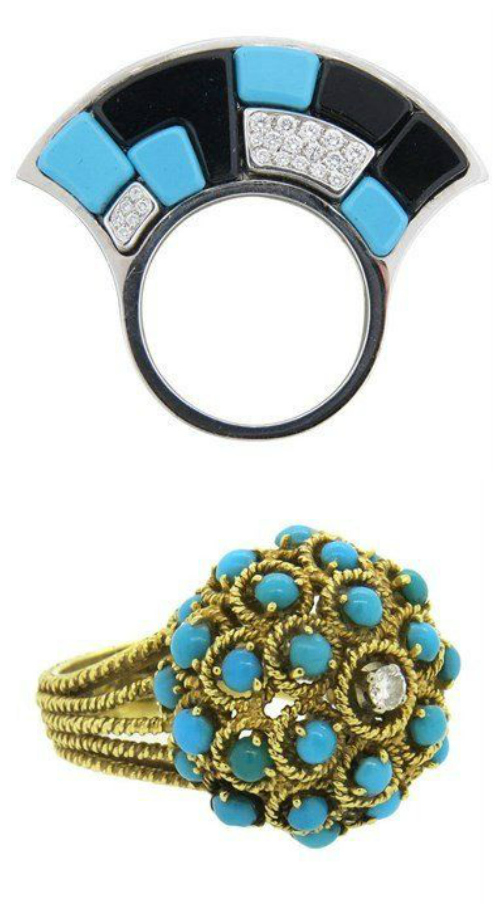 Two fabulous turquoise and diamond rings from Oakgem. Two very different, equally fabulous designs.