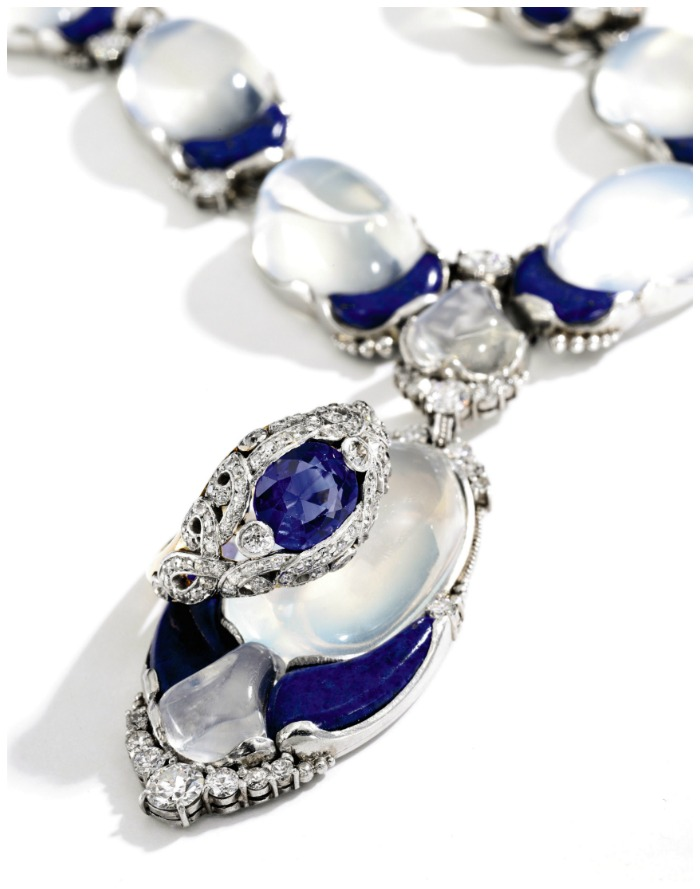 A sapphire and diamond ring, circa 1905, and a lapis and moonstone necklace, circa 1915. Both By Tiffany & Co.