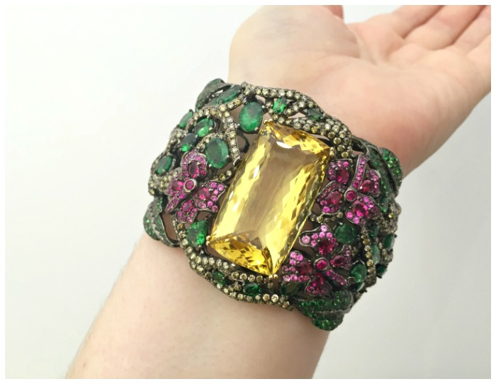 A beautiful and dramatic gemstone cuff by Wendy Yue.
