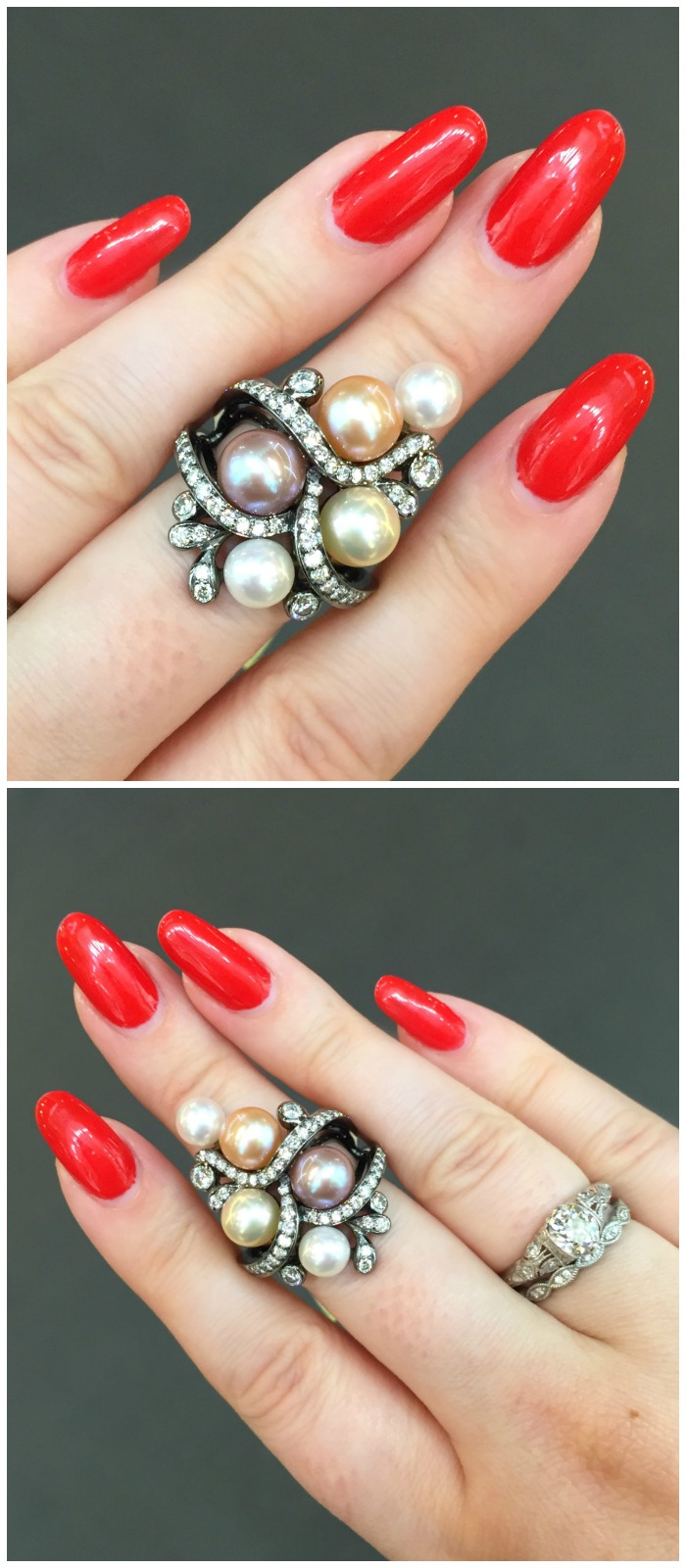 A beautiful pearl and diamond ring by Yoko London.
