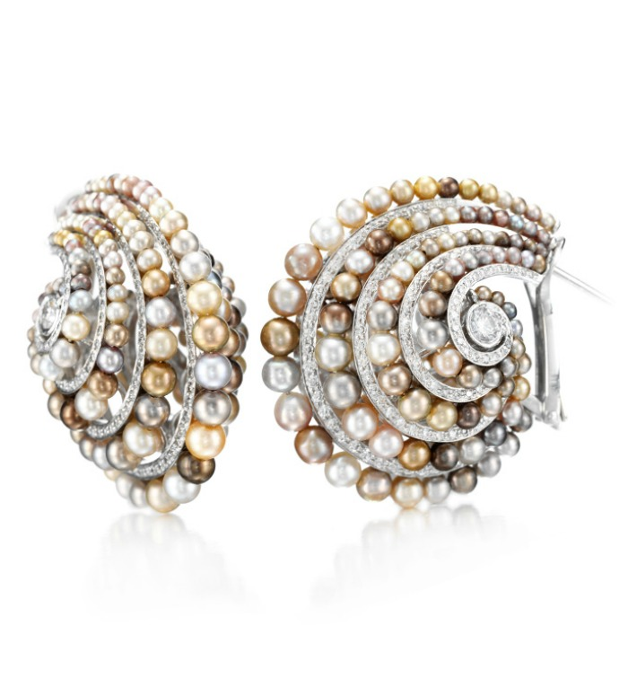 A pair of natural colored pearl and diamond earrings by Bhagat. At FD Gallery.