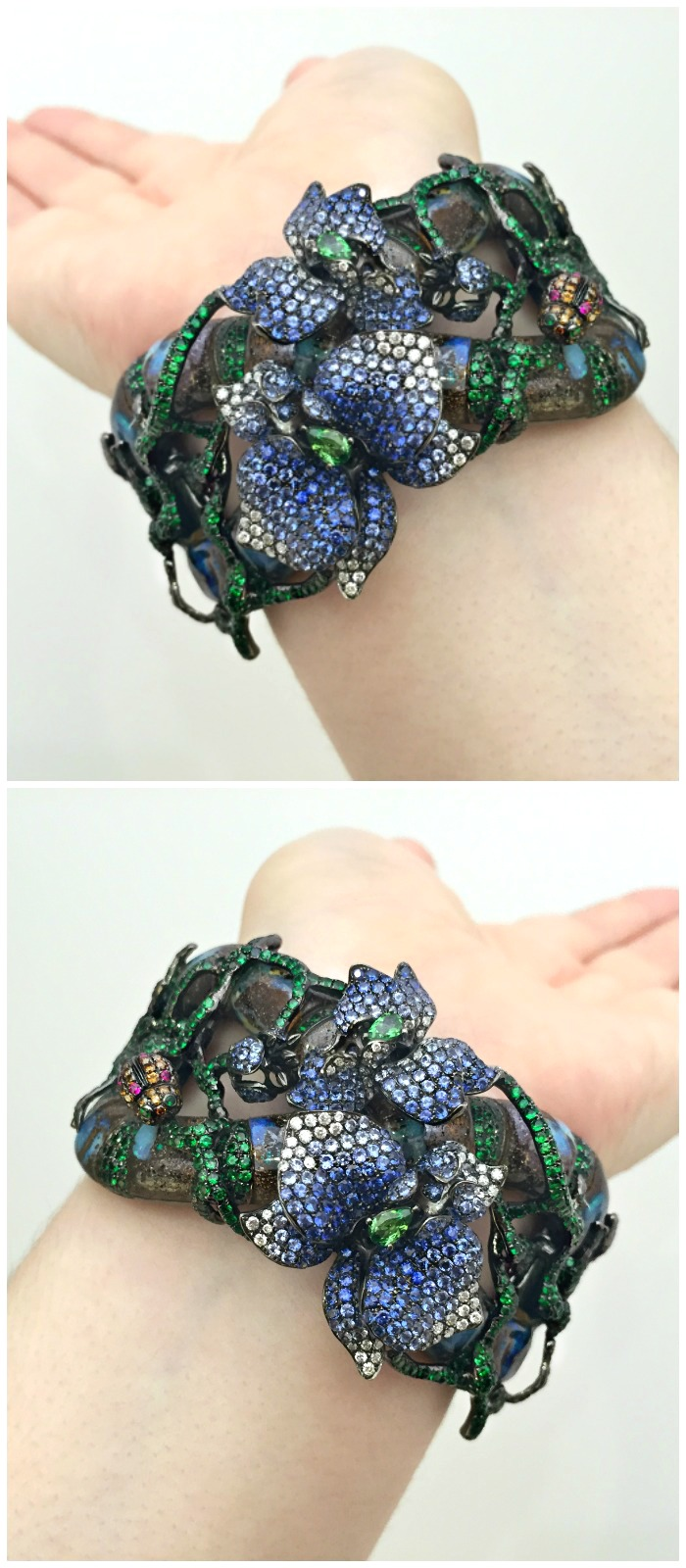 An incredible cuff by Wendy Yue, with huge opals surrounded by gemstone vines.