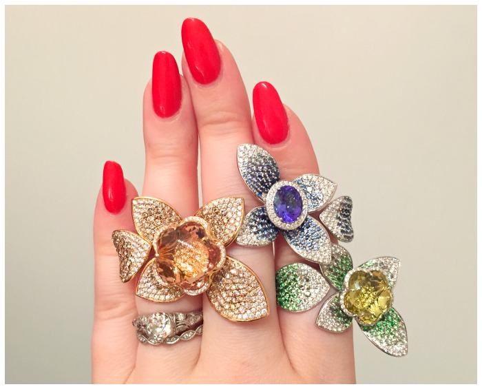 Three fabulous floral rings from Pasquale Bruni. Seen at VicenzaOro.