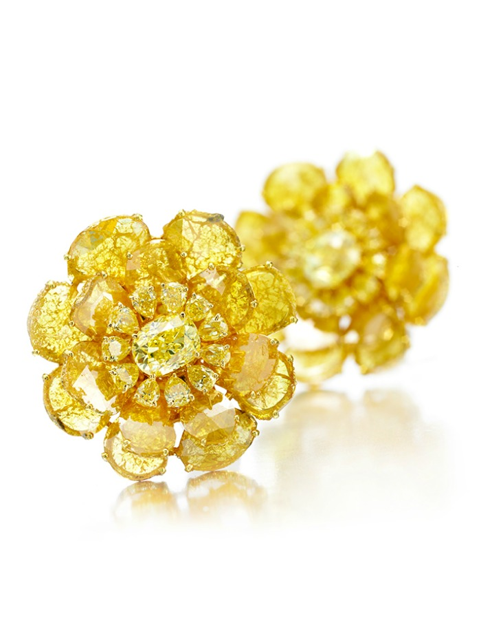 Viren Bhagat yellow diamond flower earrings. At FD Gallery.