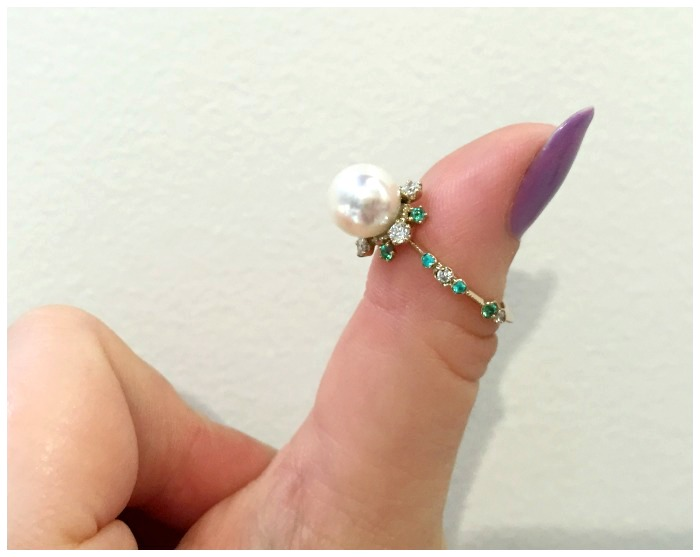 A beautiful pearl ring by Kataoka jewelry. Pearl with diamonds, emeralds, and Paraiba tourmalines.