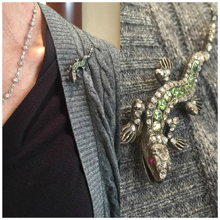 A fantastic antique diamond and demantoid garnet lizard brooch from Lang Antiques.