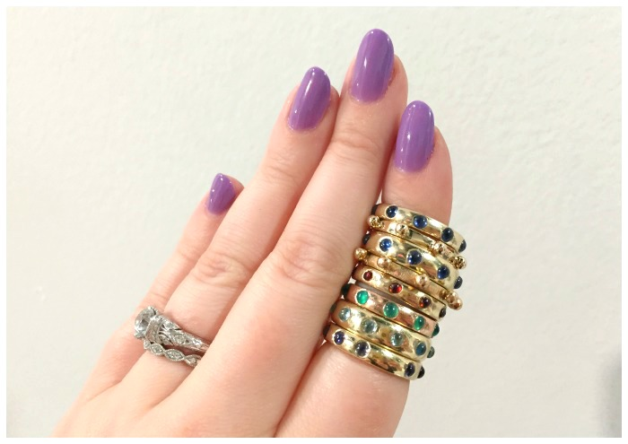 A stack of Charlton and Lola's beautiful Japa gemstone rings.