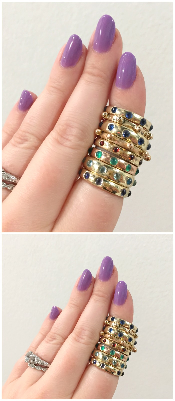 A stack of Charlton and Lola's beautiful Japa gemstone rings.