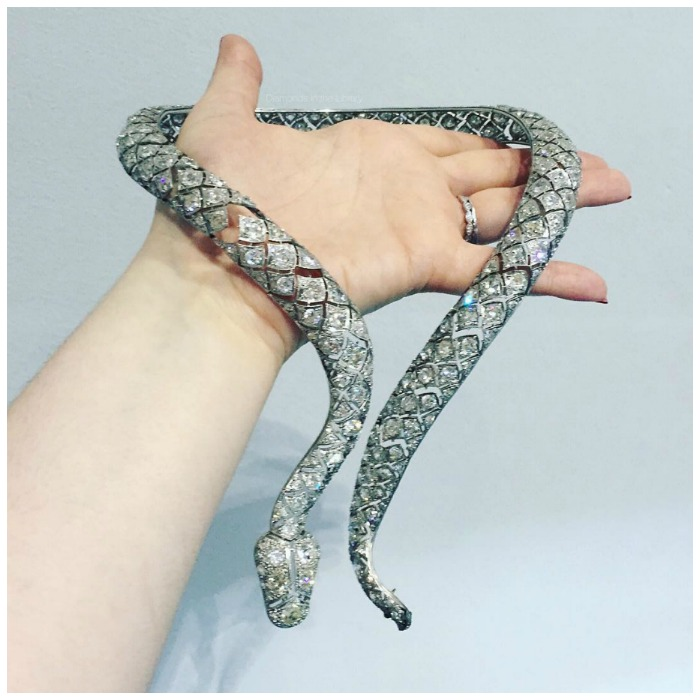 An incredible antique diamond snake necklace.