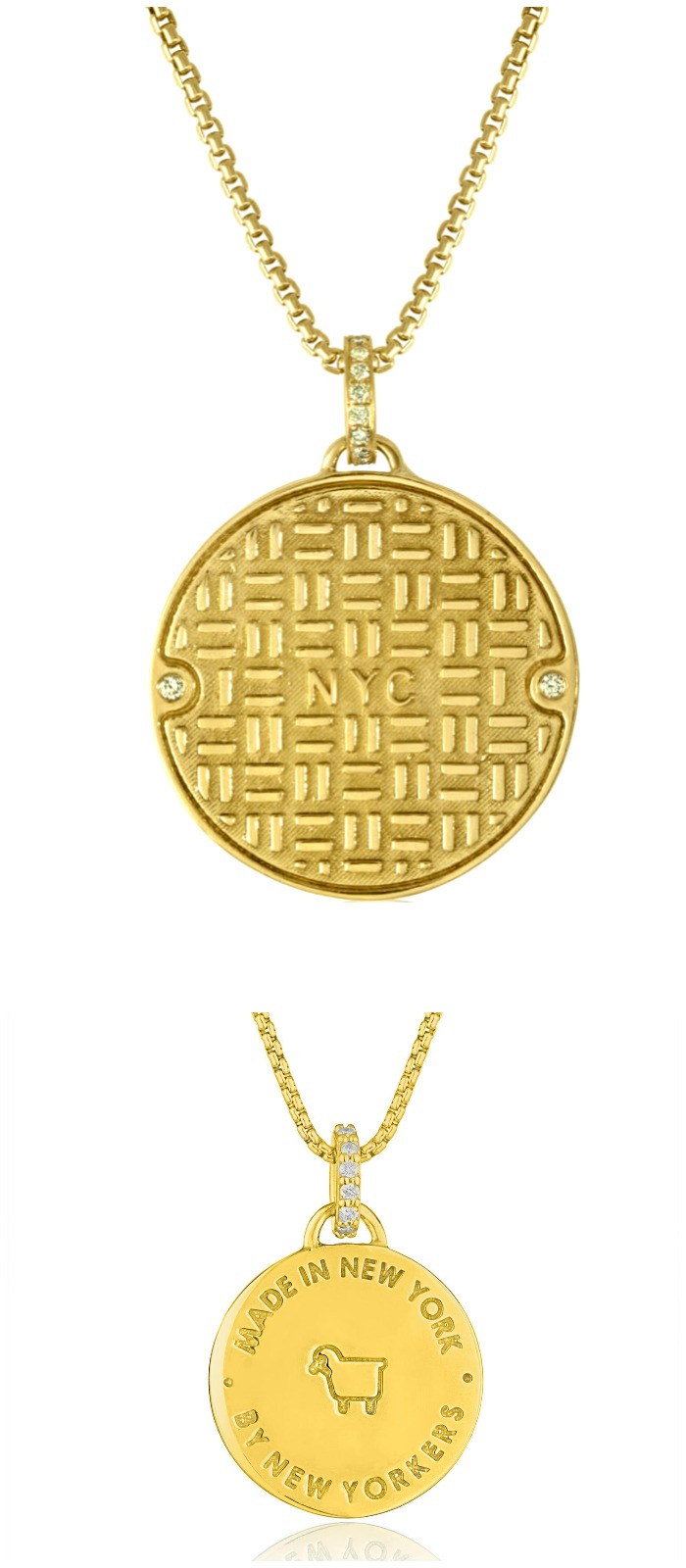 Julie Lamb's NYC Manhole Cover in yellow gold with diamonds! Handmade in NYC, by New Yorkers.