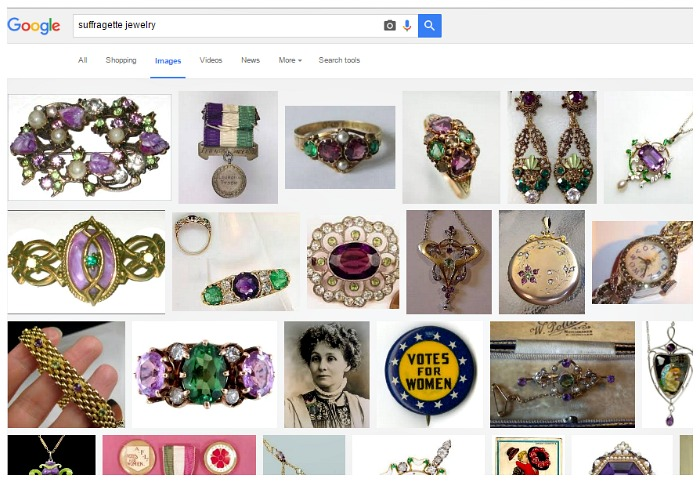 The Google image search results for suffragette jewelry.