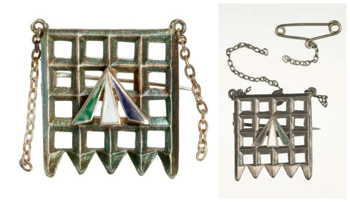 The Holloway brooch, designed by suffragette leader Sylvia Pankhurst, was given to certain suffragettes upon their release from Holloway prison, in honor of these women's sacrifice for the cause.