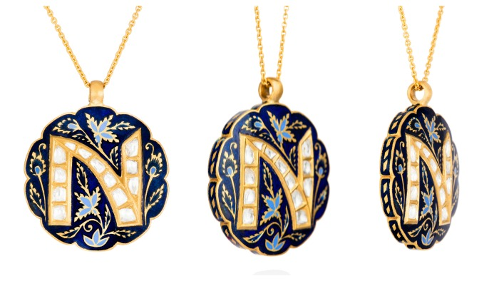 The Midnight Veil initial necklace from Agaro Jewels Roya Collection, shown here in letter N.