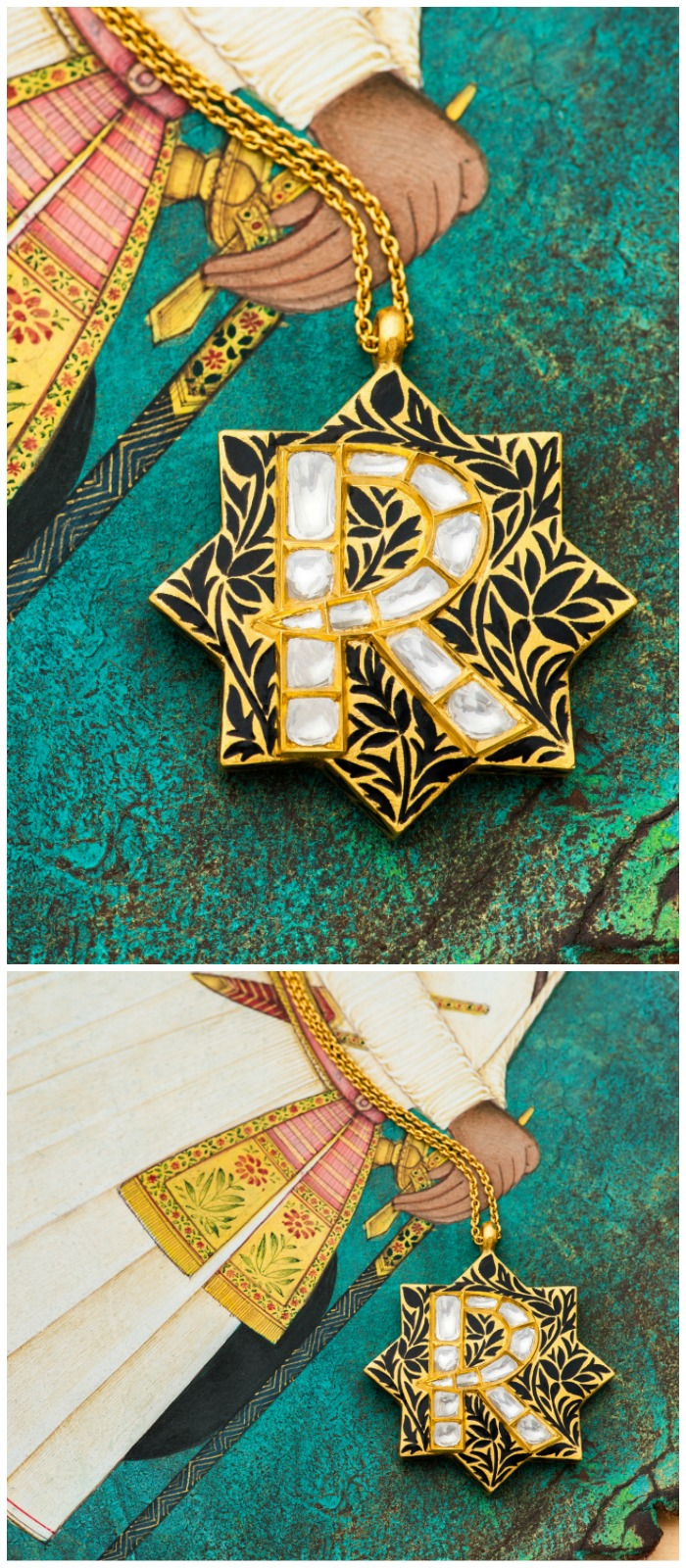 The beautiful Silk Shadow initial necklace from Agaro Jewels' Roya Collection. Enamel and diamonds on gold. Shown here in letter R.