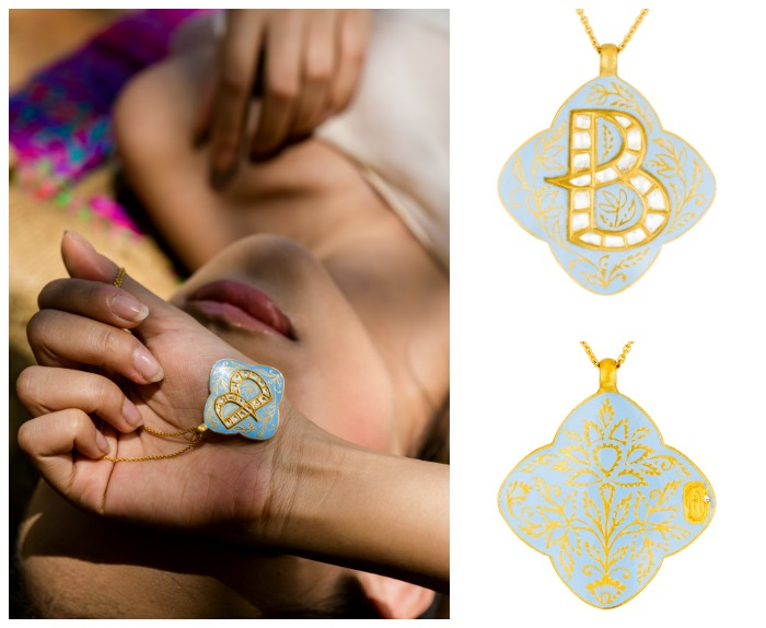 The Indian Blue Lotus initial necklace from Agaro Jewels Roya Collection, shown here in letter B.