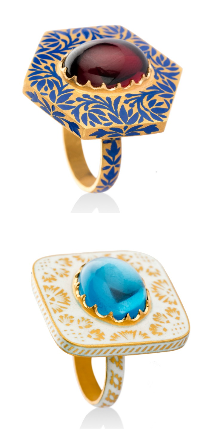 Two beautiful gemstone and enamel rings by Agaro Jewels.