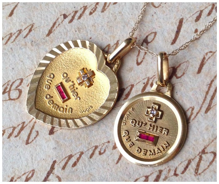 A love poem you can wear the augis medaille damour two vintage french love charms the augis medaille damour available from erin antiques aloadofball Choice Image