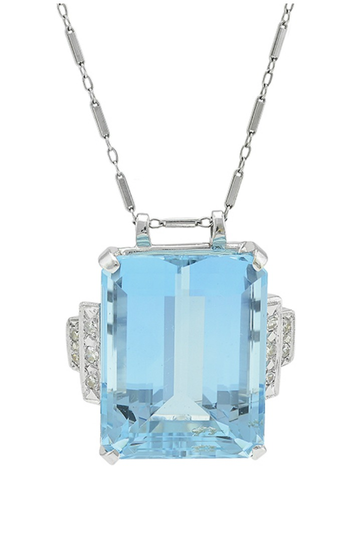 A 46.5 carat aquamarine and diamond necklace currently up for auction through Bidsquare.