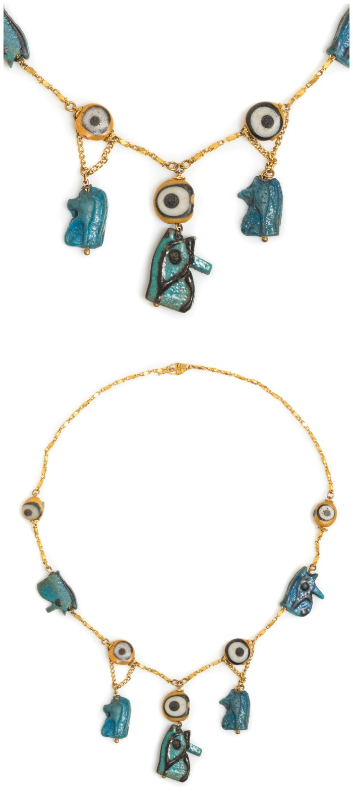 A Possibly Ancient Yellow Gold, Faience Bead and Glass Bead Eye of Horus Motif Necklace.
