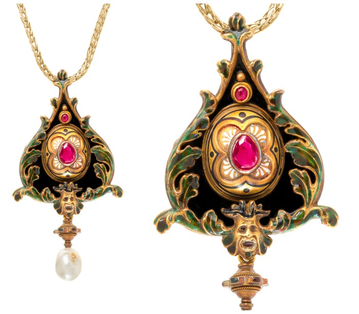 An antique Renaissance Revival pendant by Augusto Castellani, circa 1860. With a large oval ruby and several other gems in gold with enamel and a pearl drop.