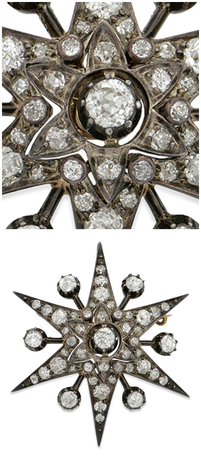 A Victorian diamond starburst pin currently up for auction through Bidsquare.