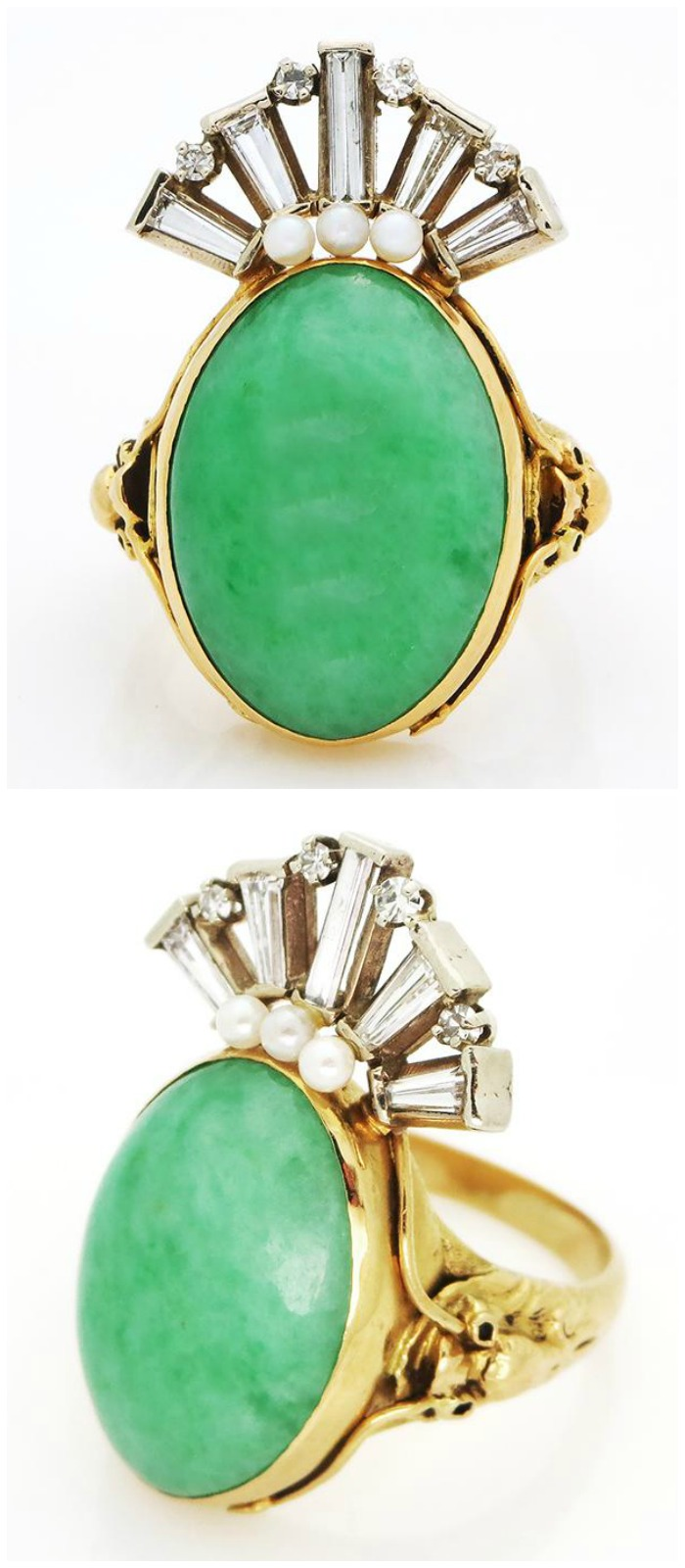 A fabulous gold, diamond, jade and pearl ring currently up for auction and available through Bidsquare.