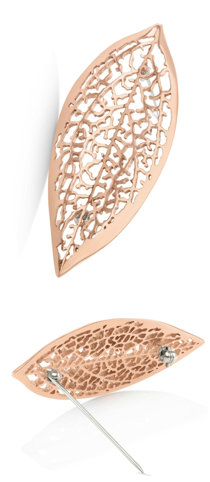 A golden metal lace leaf brooch by Vitae Ascendere.