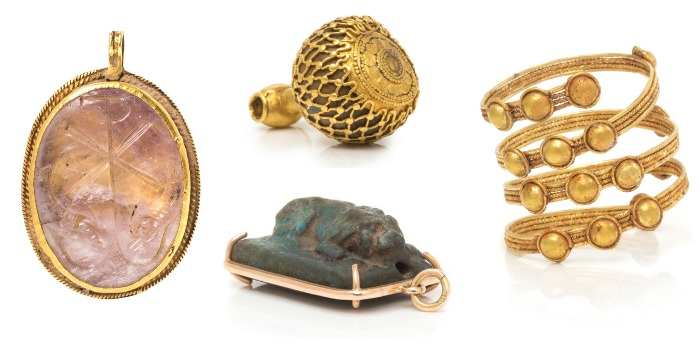 A selection of ancient jewelry from Leslie Hindman Auctioneers' December Important Jewelry Sale.
