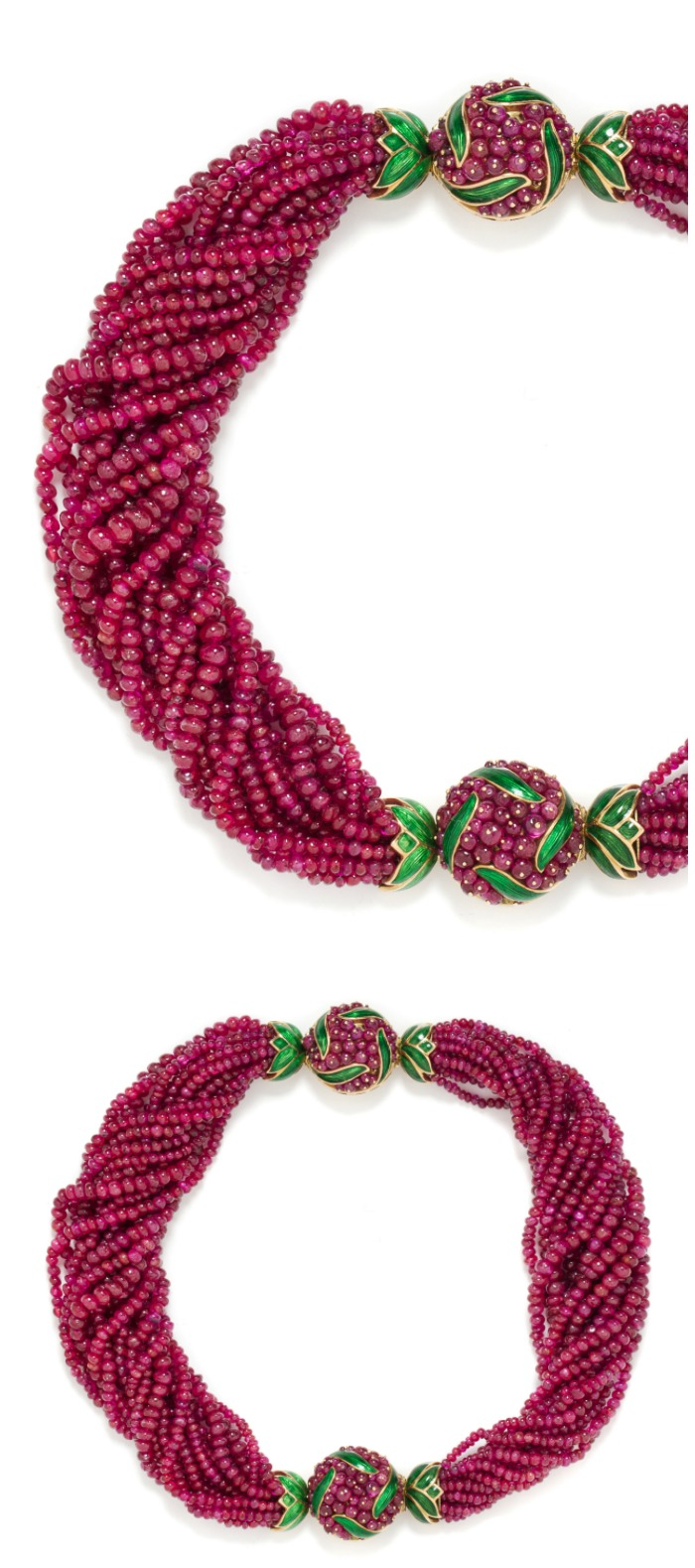 A set of ruby bead, yellow gold, and enamel bracelets by Verdura. Wearable separately or together as a necklace.