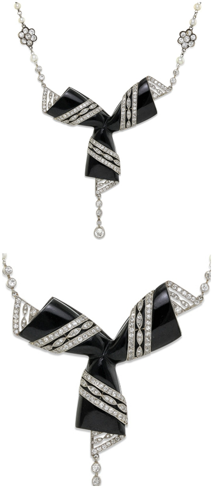 A stunning Art Deco diamond and onyx necklace currently up for auction and available through Bidsquare.