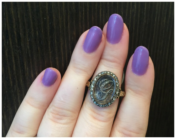 A stunning antque memorial ring from Erstwhile Jewelry Co., with hair detail and a diamond monogram.