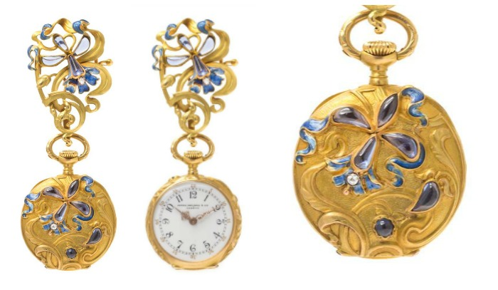 An Art Nouveau Gold, Iolite, Diamond and Polychrome Enamel Lapel Watch, by Patek Philippe.