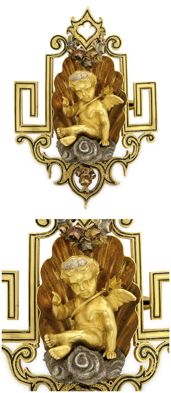 An Art Nouveau cherb pin currently up for auction through Bidsquare.