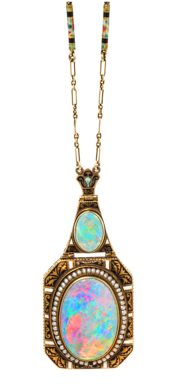 An Art Nouveau yellow gold, seed pearl, opal, and enamel necklace. This beauty also converts to a brooch.