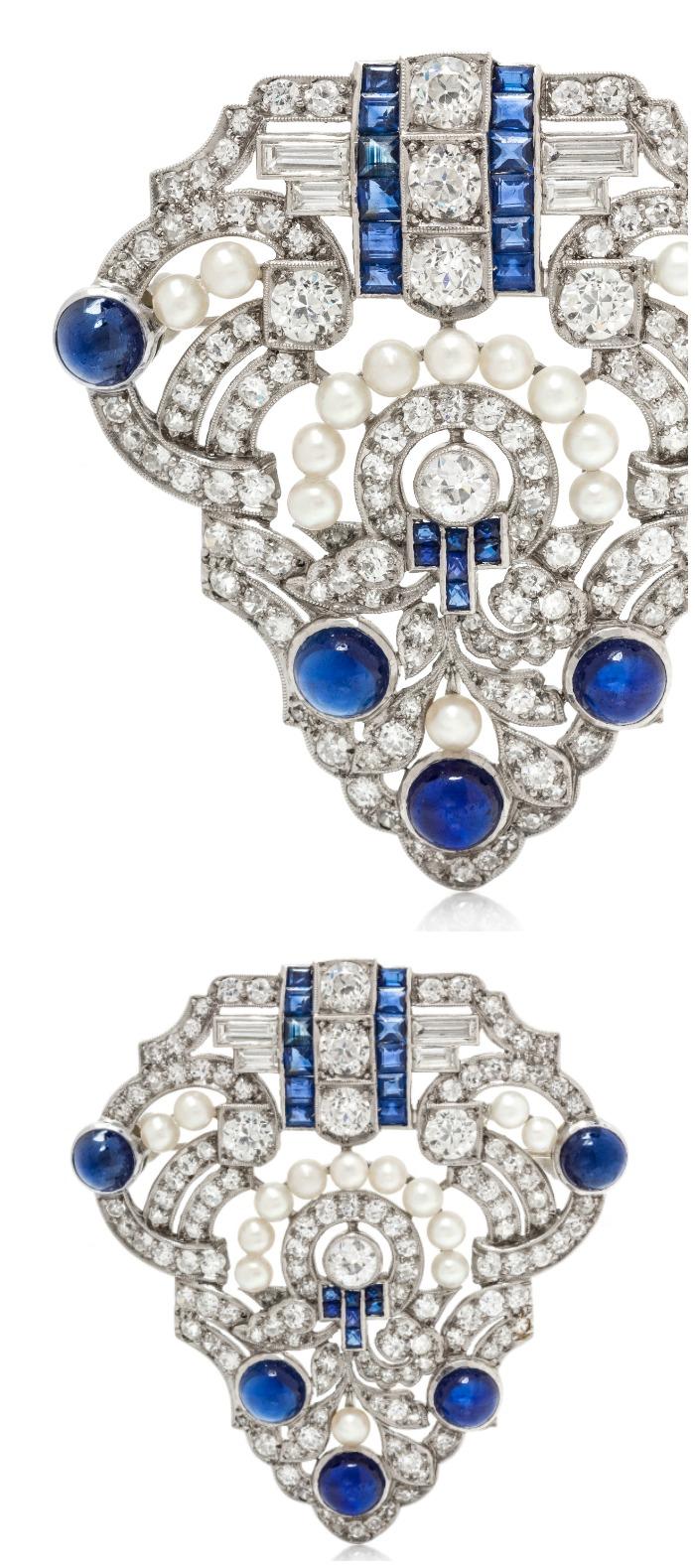an-antique-art-deco-platinum-diamond-and-sapphire-brooch