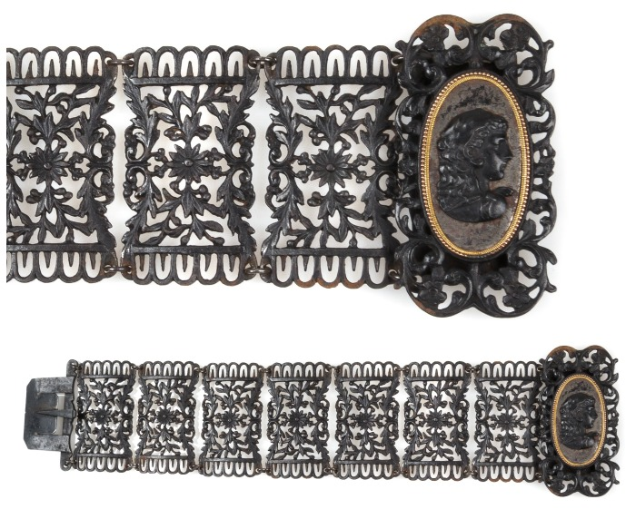 An exceptional antique Berlin Ironworks bracelet with a cameo clasp and floral details.