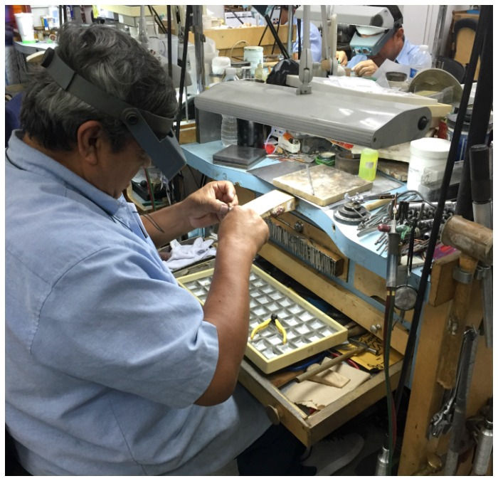 Behind the scenes in the Carelle workshop, seeing jewelry being made.