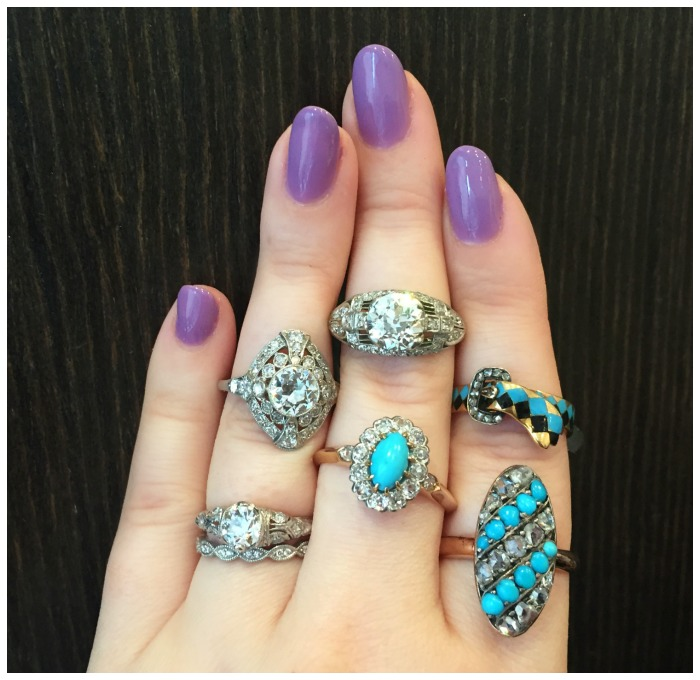Lovely antique rings from Erstwhile Jewelry Co.! I love these blues - turquoise and enamel.